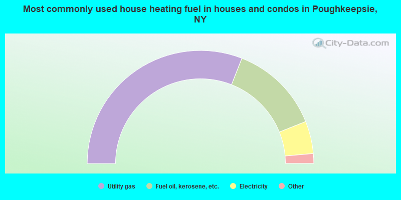 Most commonly used house heating fuel in houses and condos in Poughkeepsie, NY