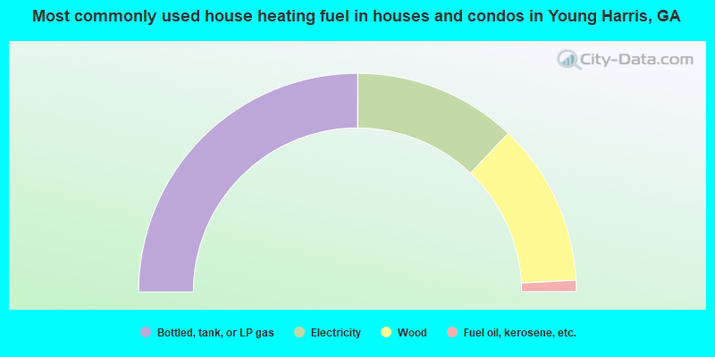 Most commonly used house heating fuel in houses and condos in Young Harris, GA