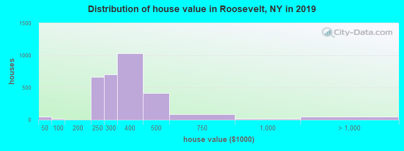 Distribution of house value in Roosevelt, NY in 2017