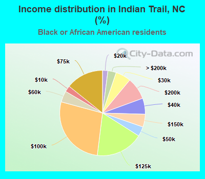 Income distribution in Indian Trail, NC (%)