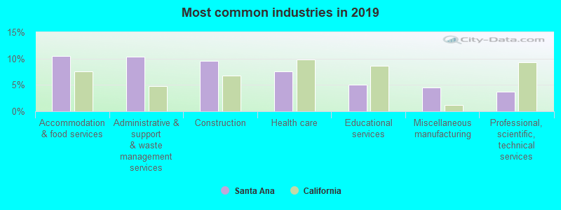 Most common industries in 2019