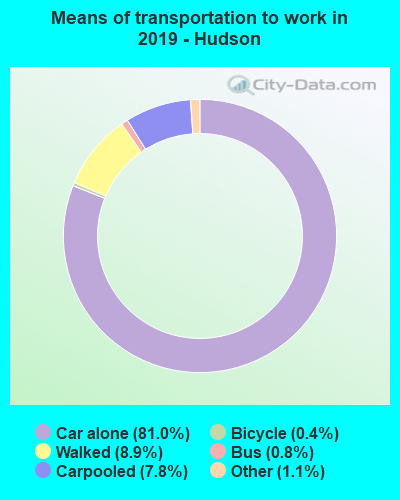 Means of transportation to work in 2017 - Hudson