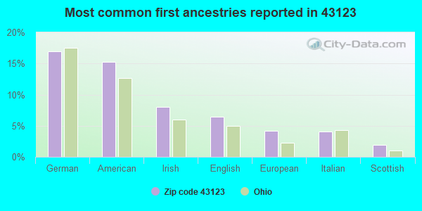 Most common first ancestries reported in 43123