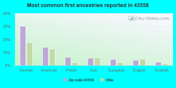 Most common first ancestries reported in 43558