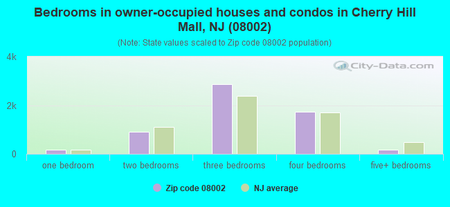Bedrooms in owner-occupied houses and condos in Cherry Hill Mall, NJ (08002)