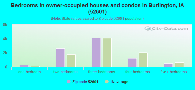 Bedrooms in owner-occupied houses and condos in Burlington, IA (52601)