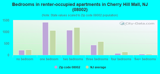 Bedrooms in renter-occupied apartments in Cherry Hill Mall, NJ (08002)