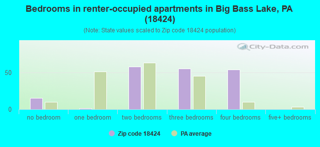 Bedrooms in renter-occupied apartments in Big Bass Lake, PA (18424)