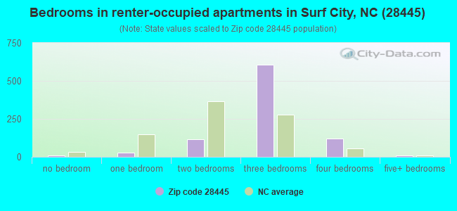 Bedrooms in renter-occupied apartments in Surf City, NC (28445)