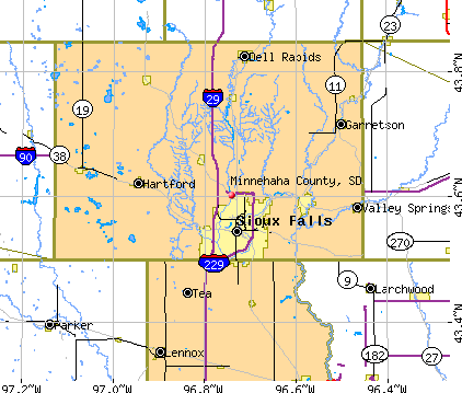 Minnehaha County, SD map