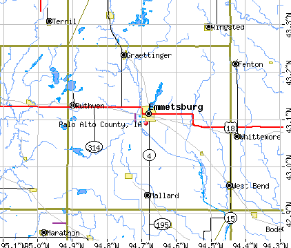 Palo Alto County, IA map